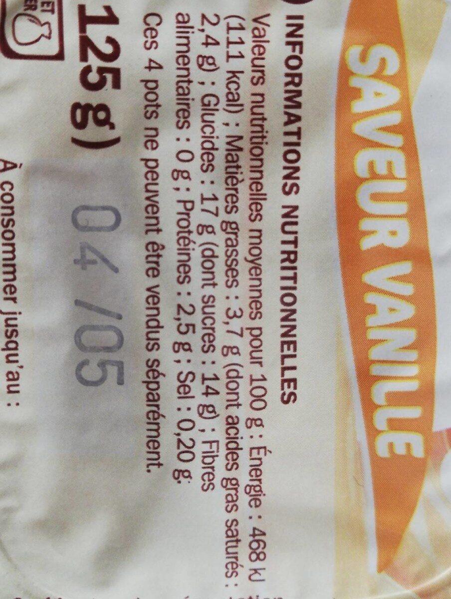 Crème dessert à la vanille - Informations nutritionnelles - fr