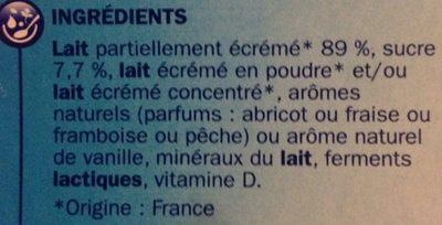 Yaourts aromatisés aux fruits - Ingredienti - fr