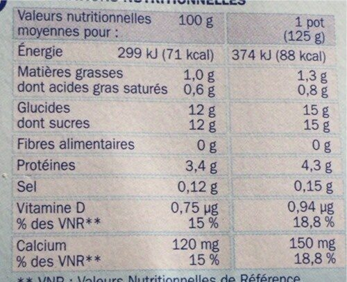 Yaourts aromatisés aux fruits - Informazioni nutrizionali - fr