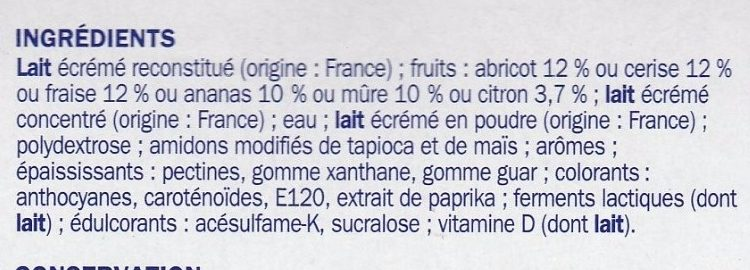 Spécialités laitières fruits 0% 8X125 - Ingrediënten - fr