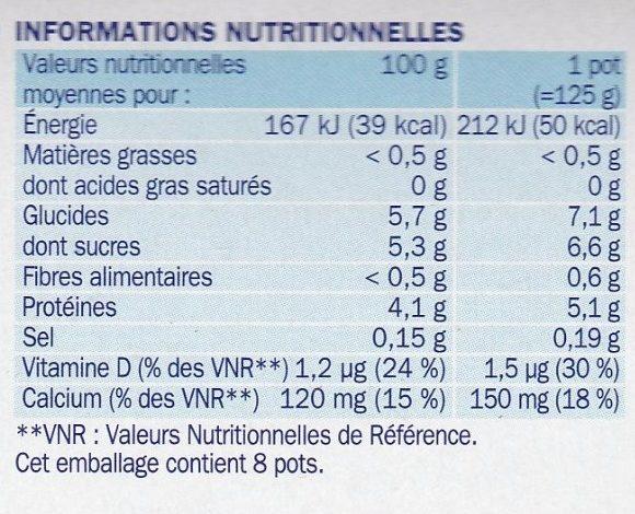 Spécialités laitières fruits 0% 8X125 - Voedingswaarden - fr