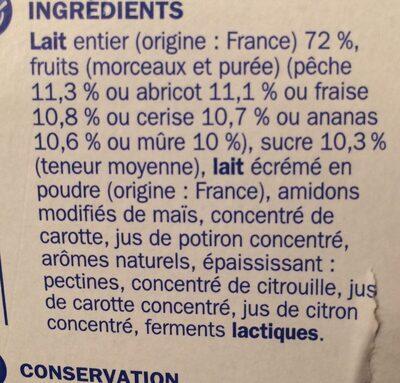 Yaourts aux fruits morceaux - Ingrédients
