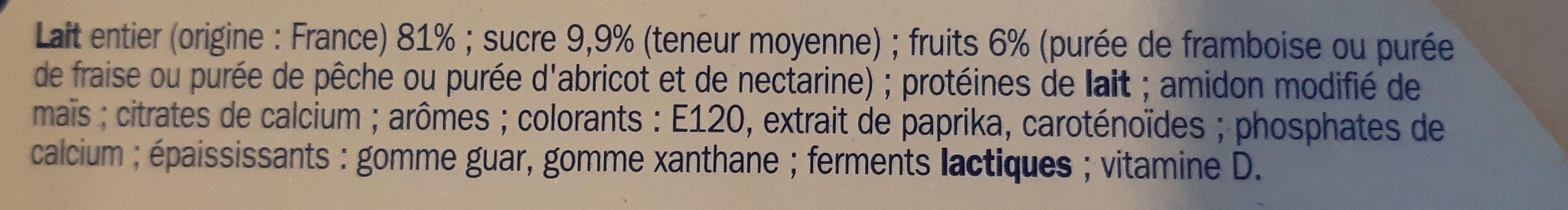 Yaourts brassés aux fruits mixés - Ingrédients - fr