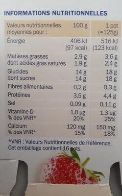 Yaourts brassés aux fruits mixés - Informations nutritionnelles - fr