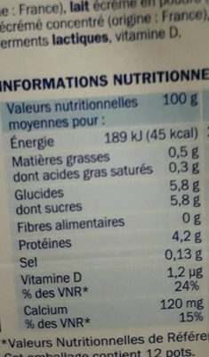 Déli'light - Yaourt nature 0% - Nutrition facts
