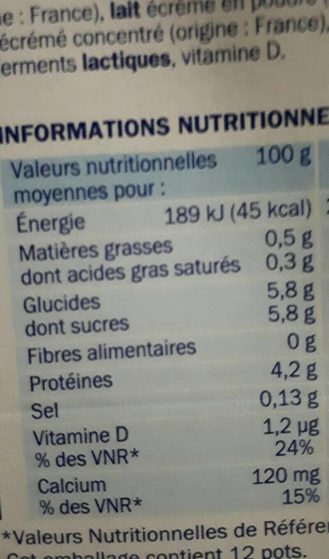 Yaourt nature étuvé 0 % Mat.Gr. - Informations nutritionnelles - fr