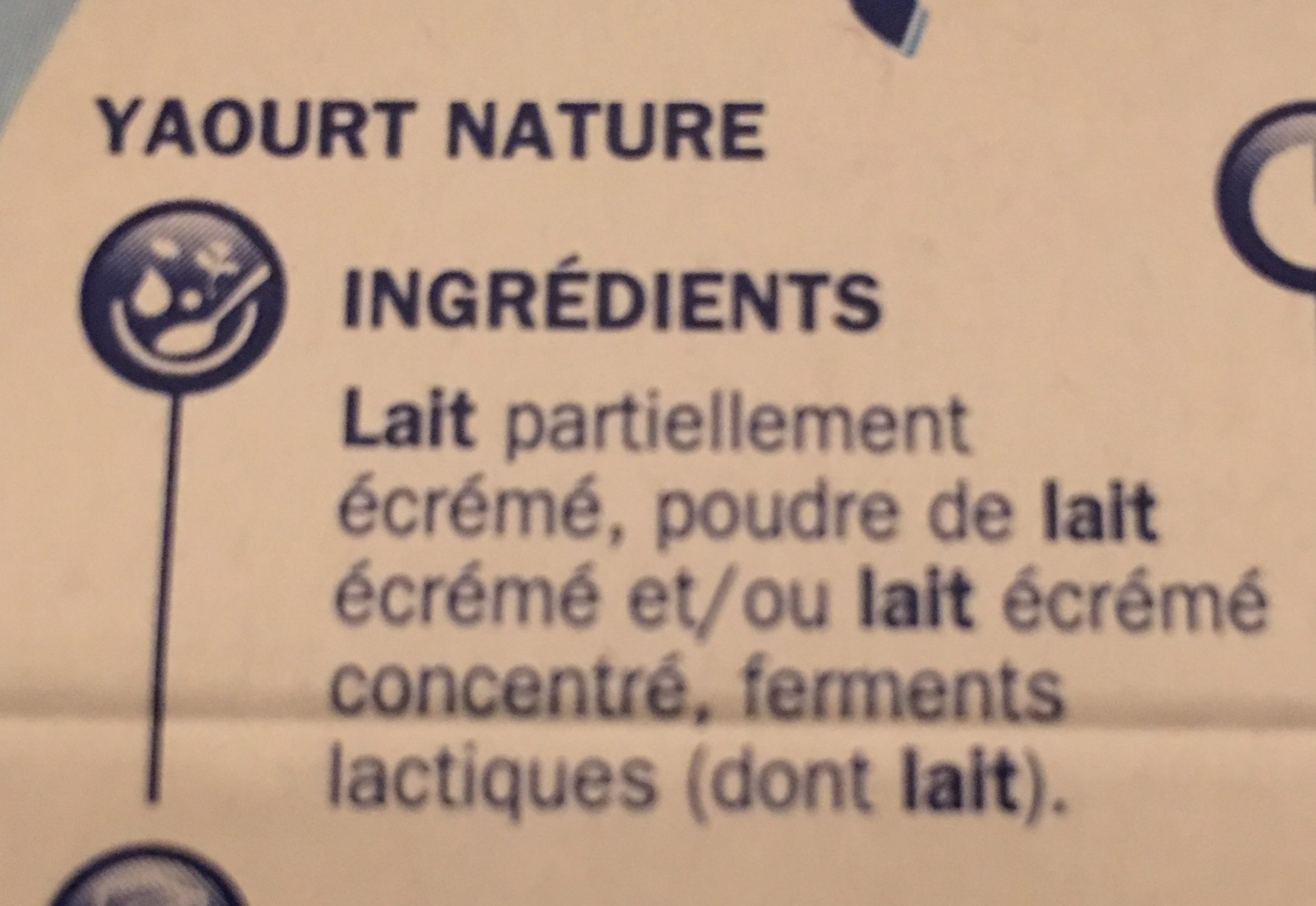 Yaourts natures - Ingredients