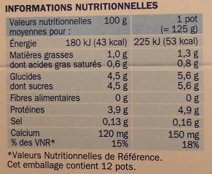 Yaourts natures - Informations nutritionnelles - fr