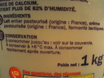 Fromage blanc nature 7,6 % - Ingrediënten