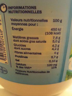 Fromage blanc nature 7,6 % - Voedigswaarden