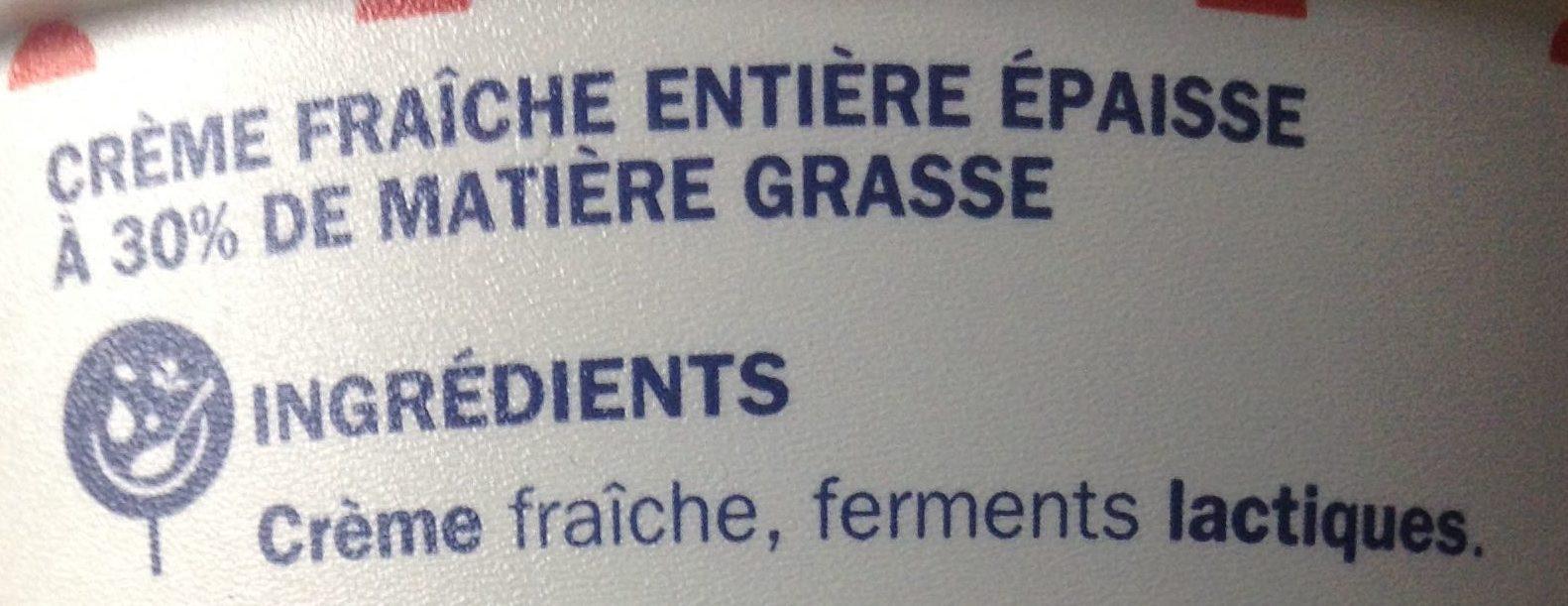 Crème fraîche entière épaisse 30% mg - Ingredients