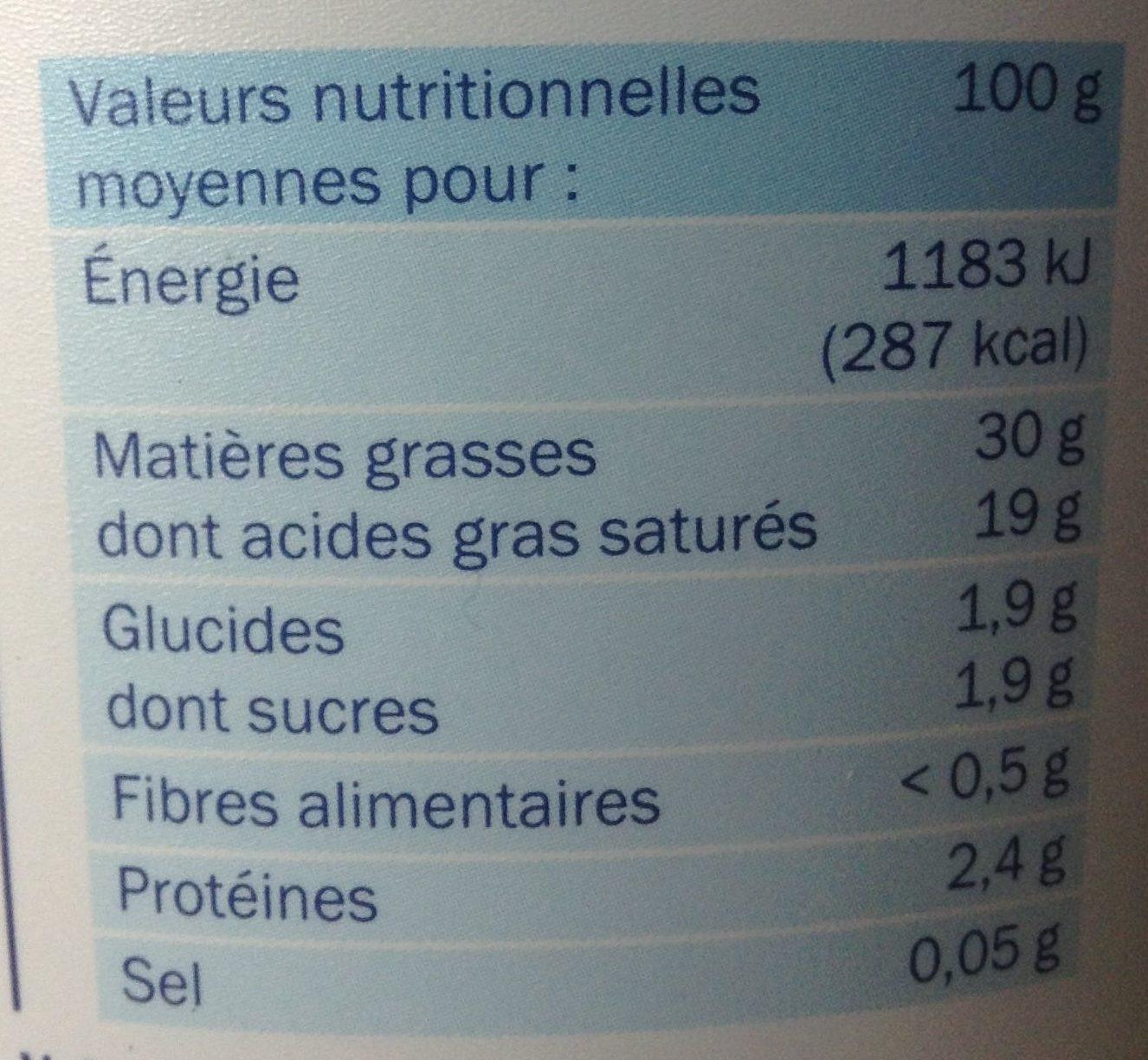 Crème fraîche entière épaisse 30% mg - Nutrition facts