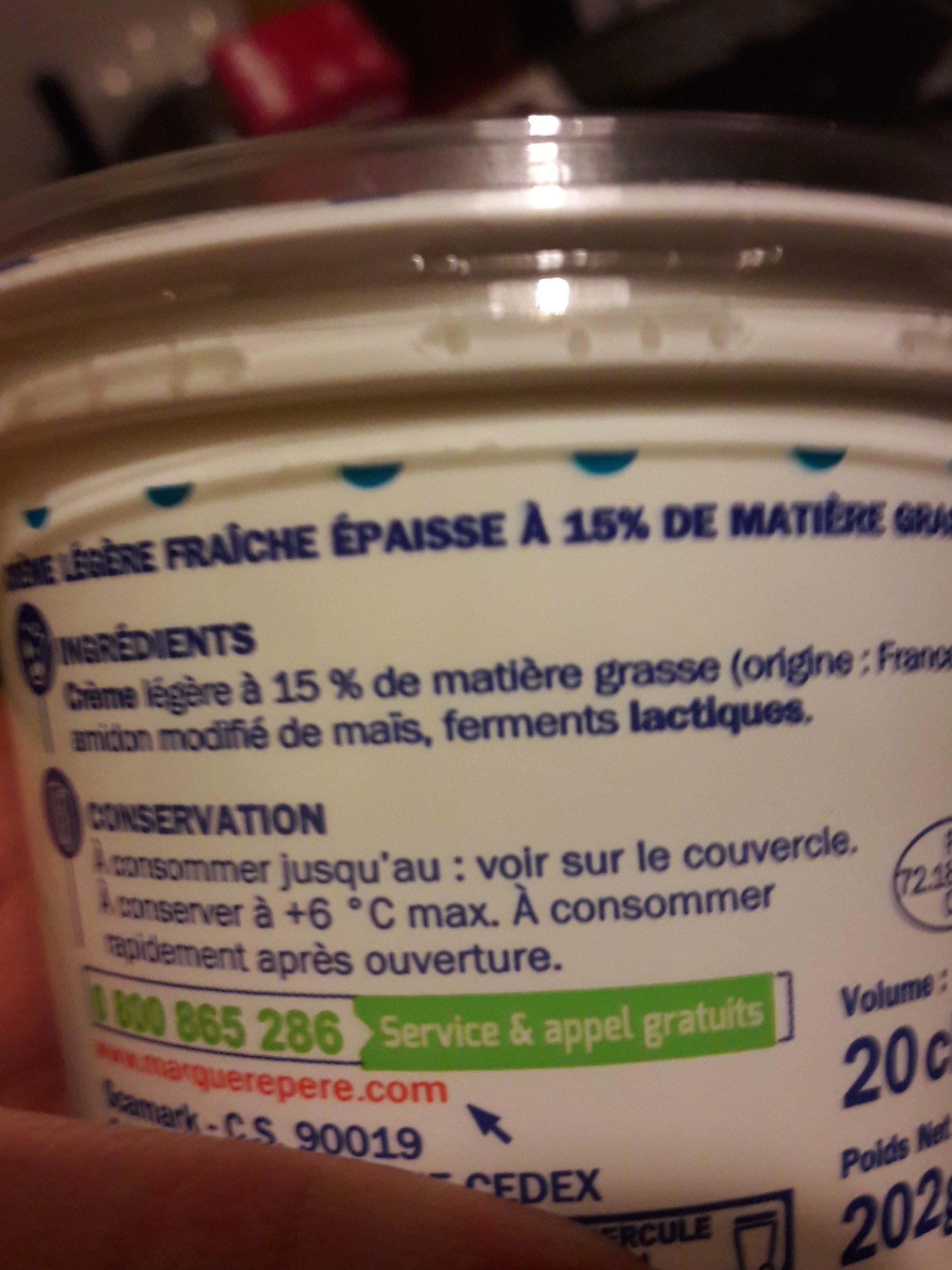 Crème fraîche légère épaisse 15 % Mat. Gr. - Ingrédients - fr