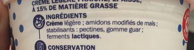 Crème fraîche - Ingrédients