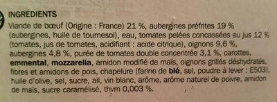 Moussaka à la grecque - Ingrédients - fr