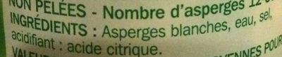 Asperges blanches petites - Ingrediënten - fr