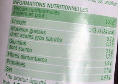 Coeurs de palmier bocal - Voedingswaarden - fr
