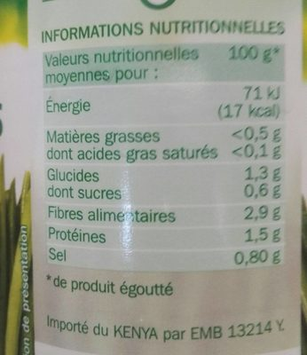 Haricots verts extra fins cueilli et rangés à la main 1/2 220g pne - Informations nutritionnelles
