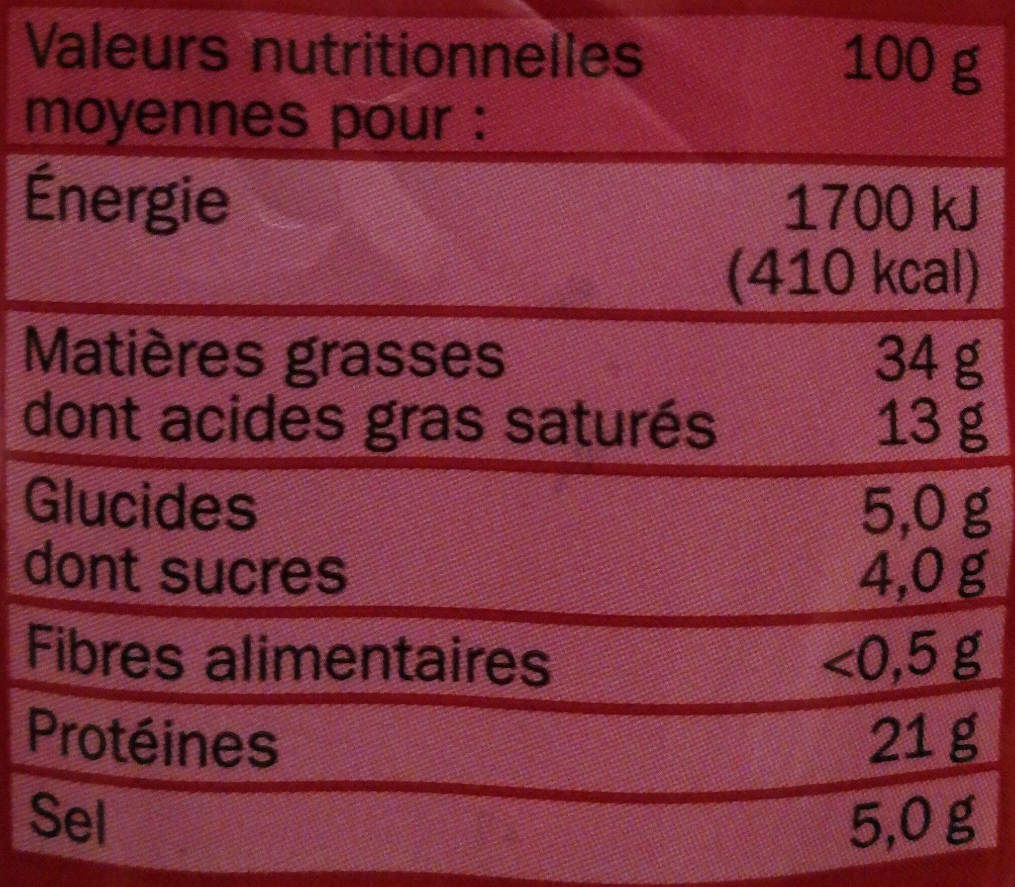Chorizo fort - Voedingswaarden