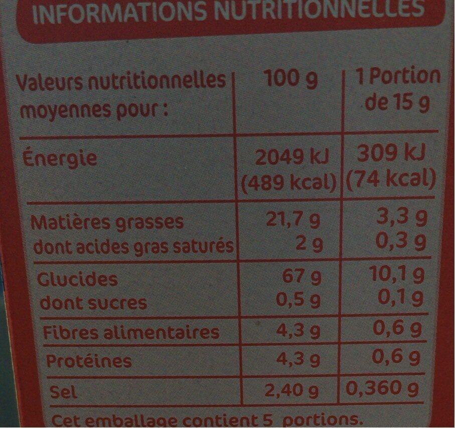 Pétales salés - Informations nutritionnelles - fr