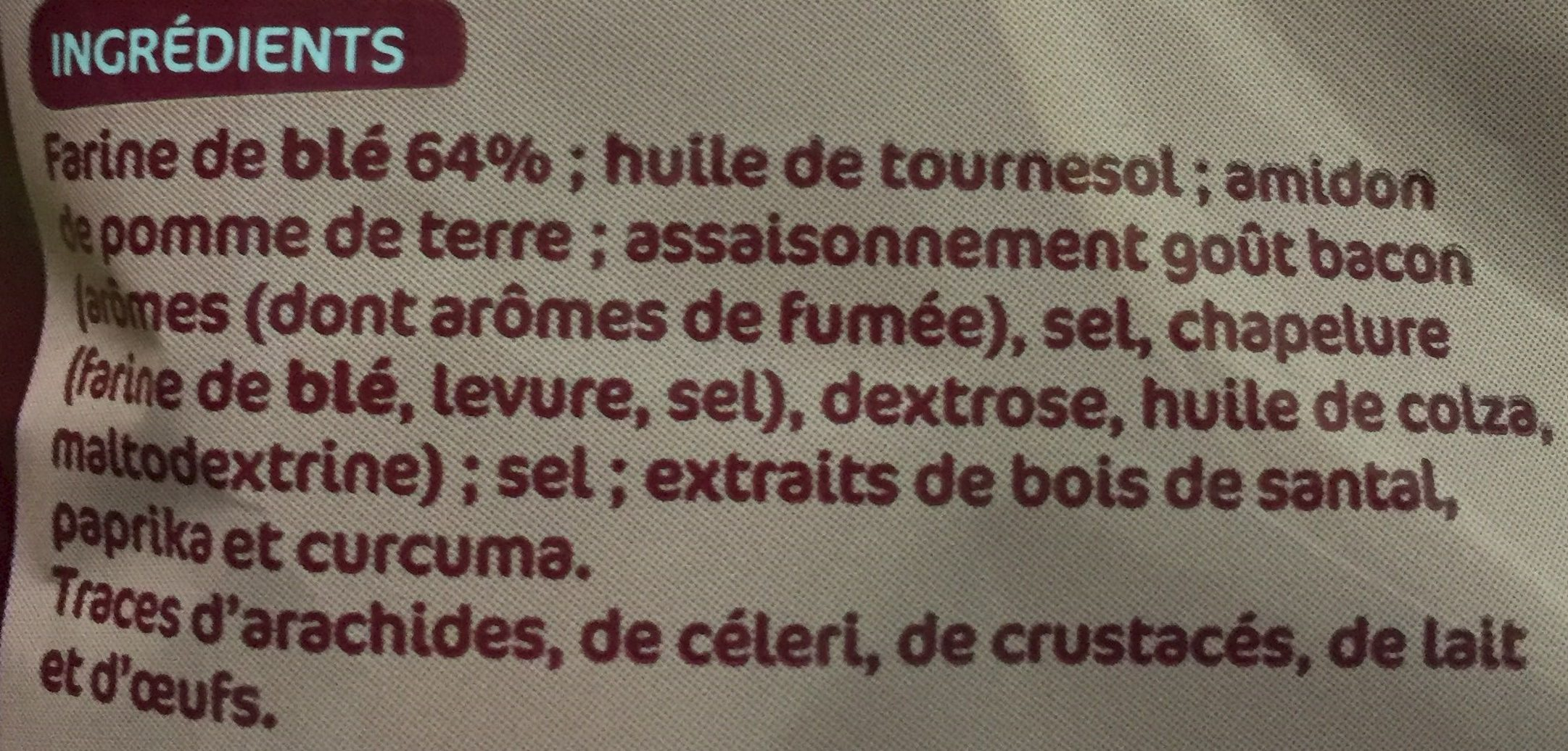 Snacks au bacon - Ingrédients - fr
