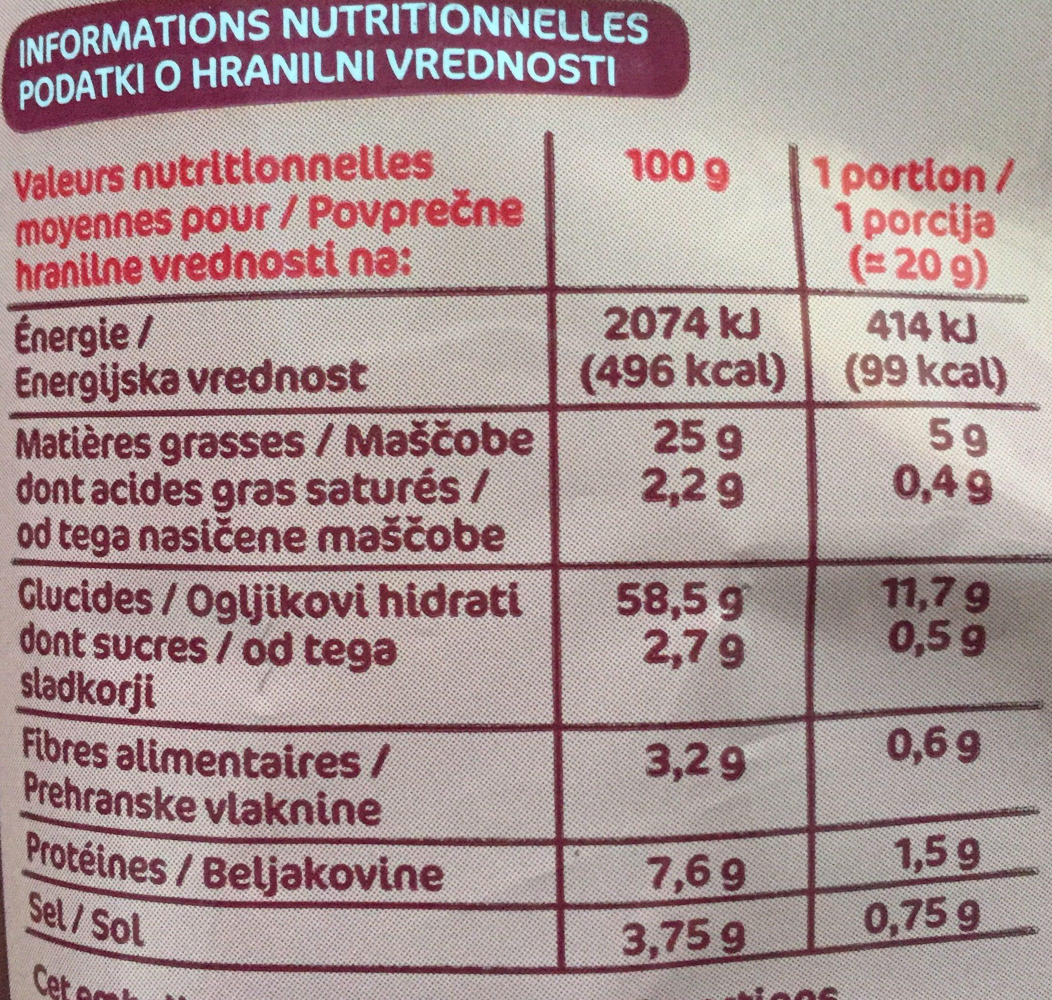 Snacks au bacon - Informations nutritionnelles - fr