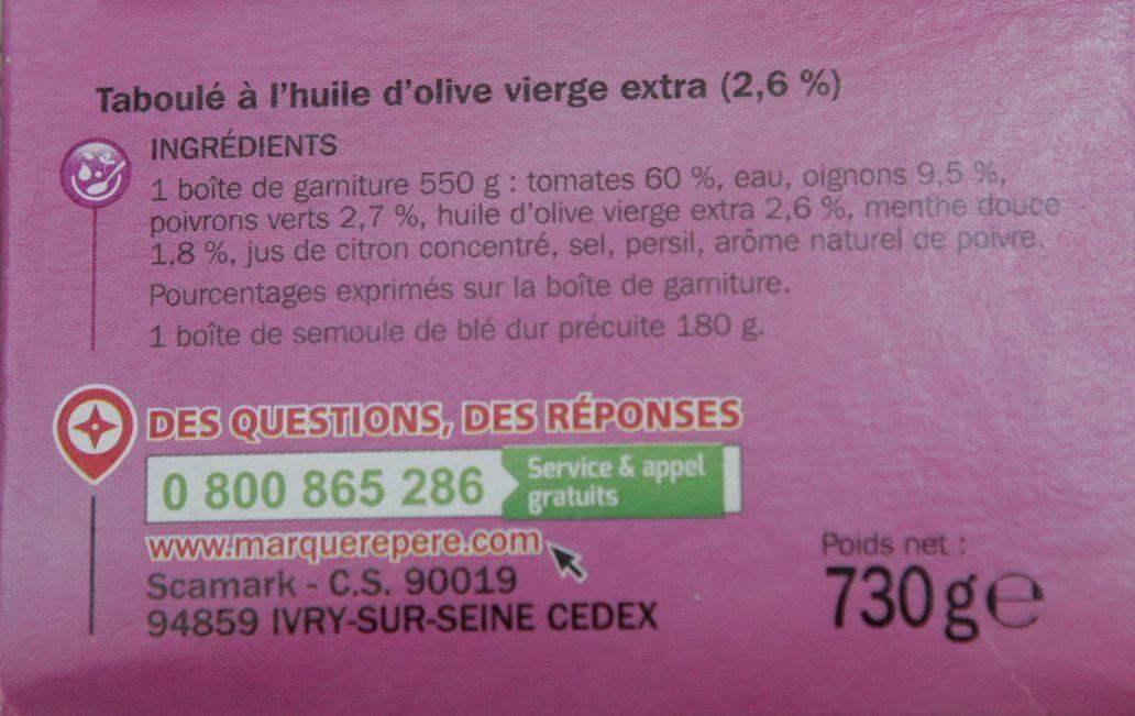 Taboulé à l'huile d'olive vierge extra - Ingrediënten - fr
