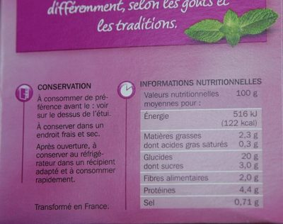 Taboulé à l'huile d'olive vierge extra - Voedingswaarden - fr