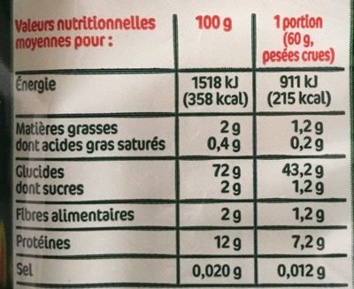 Spaghetti - Nutrition facts