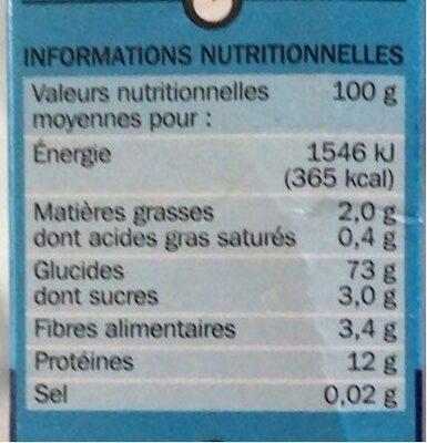Couscous grains moyens - Valori nutrizionali - fr