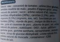 Saucisses lentilles - Ingrédients