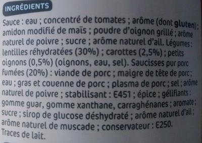 Saucisses lentilles - Ingrediënten - fr