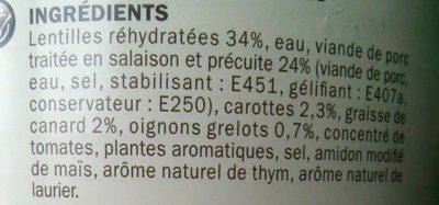 Petit salé lentilles - Ingredients