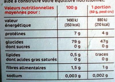 Riz long blanchi méditerraneen - Nutrition facts