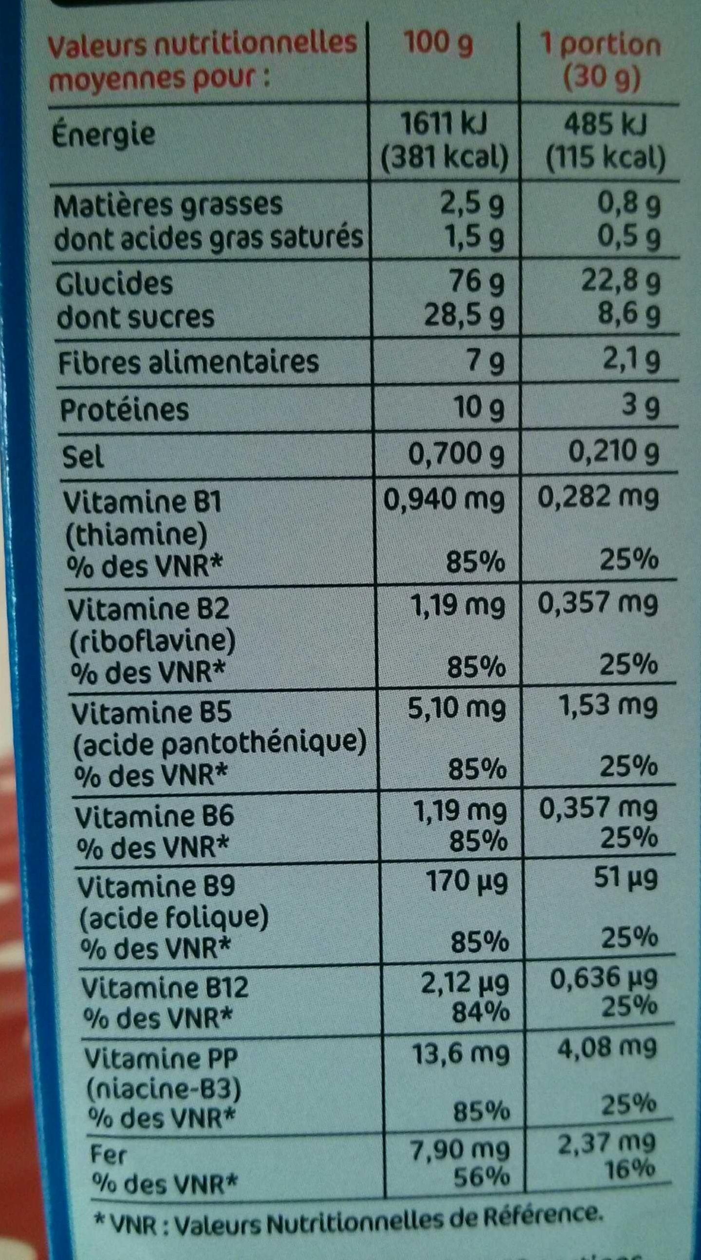 Pétales de blé au chocolat - Informations nutritionnelles - fr