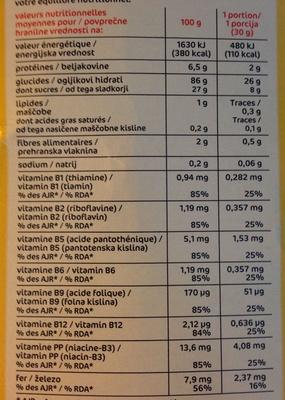 Boules céréales miel - Informations nutritionnelles - fr