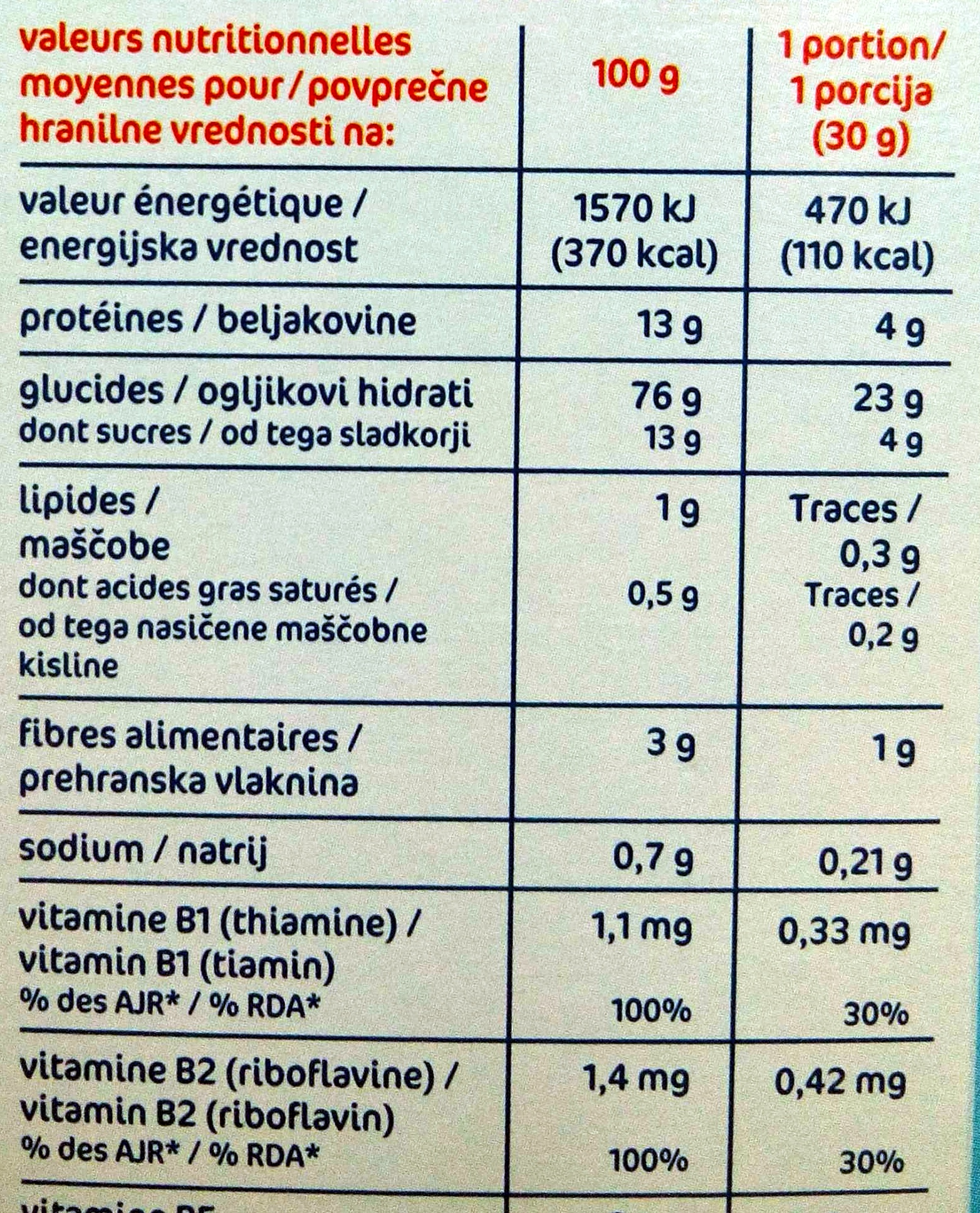 Forme Flakes Nature - Informations nutritionnelles - fr