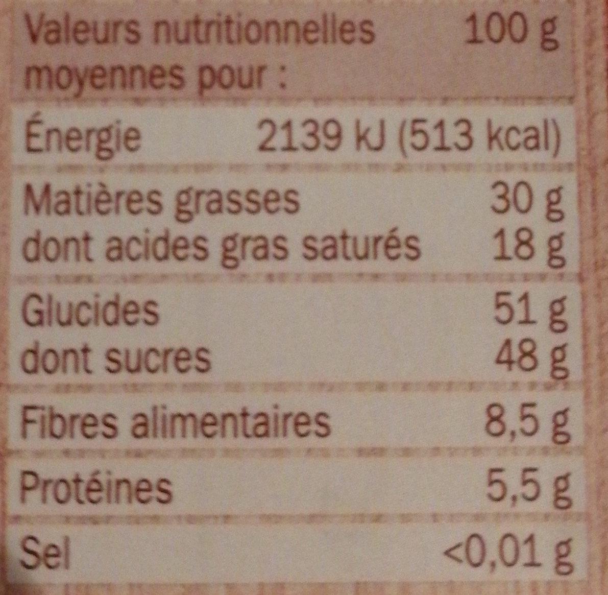 Chocolat dessert pâtissier - حقائق غذائية - fr