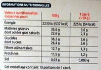 Chocolat noir 72% cacao - Informations nutritionnelles - fr