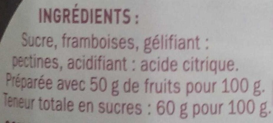 Confiture extra framboise - Ingrédients - fr