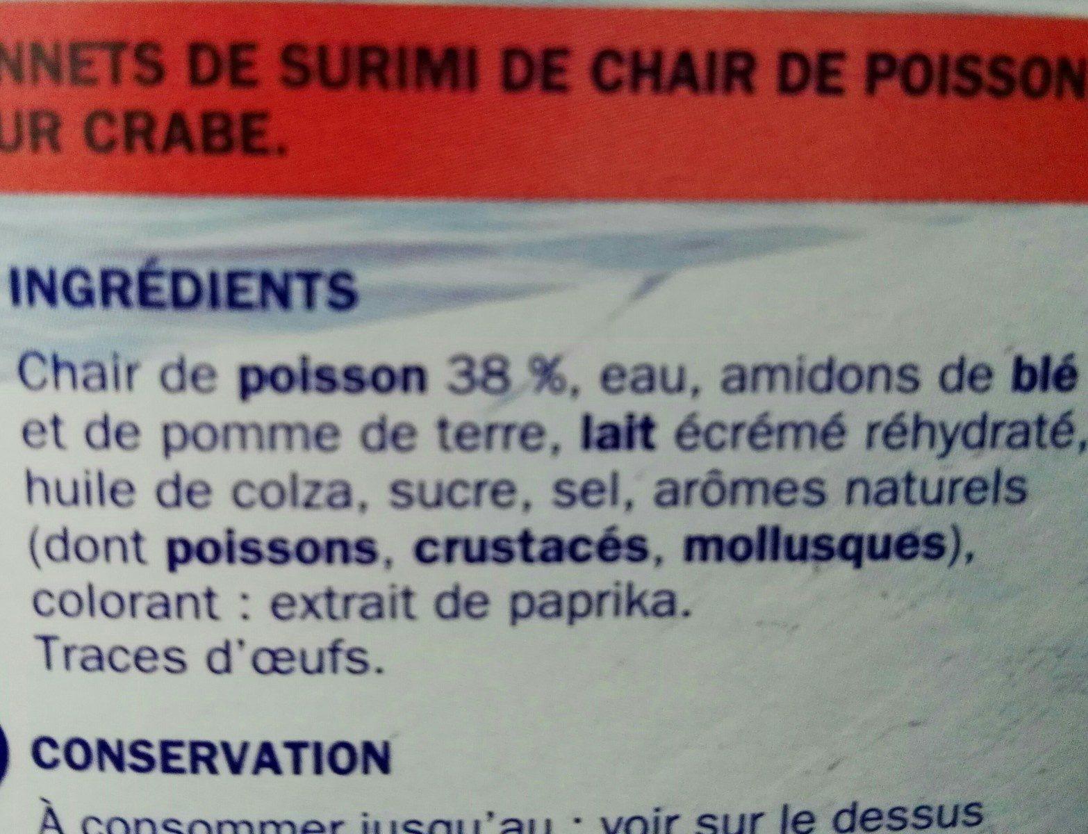 Bâtonnets saveur crabe - Ingredienti - fr