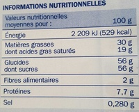 Chocolat au lait - Nutrition facts - fr