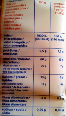 Madeleine longue pur beurre x16 - Informations nutritionnelles