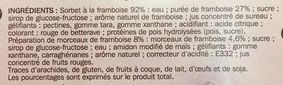 Sorbet à la framboise avec morceaux de framboise - Ingredients - fr