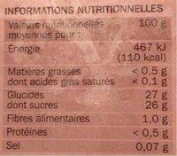 Sorbet à la framboise avec morceaux de framboise - Nutrition facts - fr