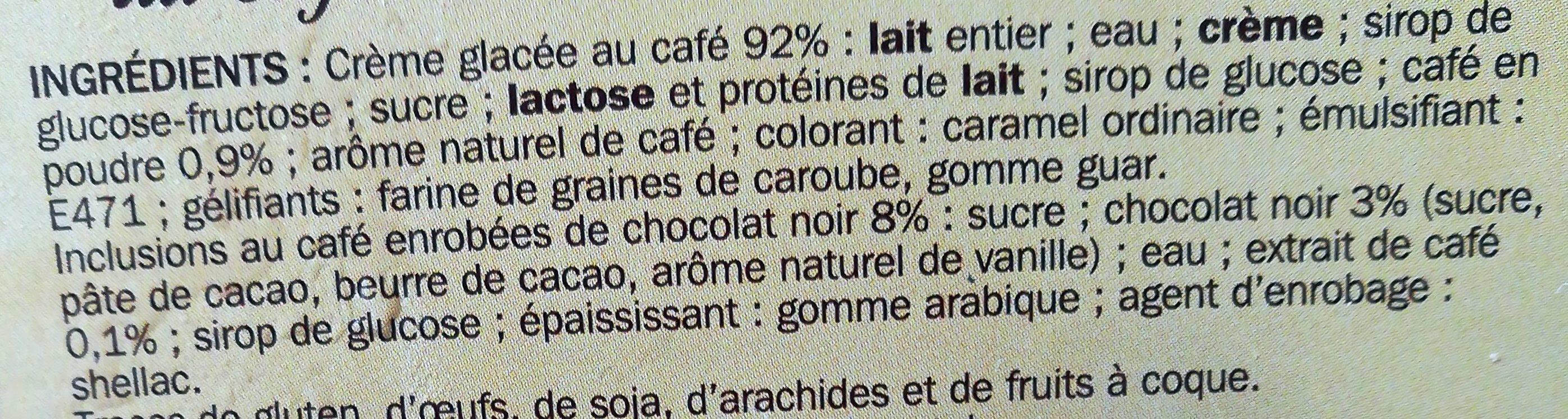 Crème glacée café - Ingrédients