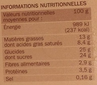 Crème glacée chocolat - Nutrition facts - fr