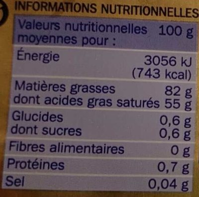 Beurre Extra-Fin Gastronomique Doux (82 % MG) - Nutrition facts