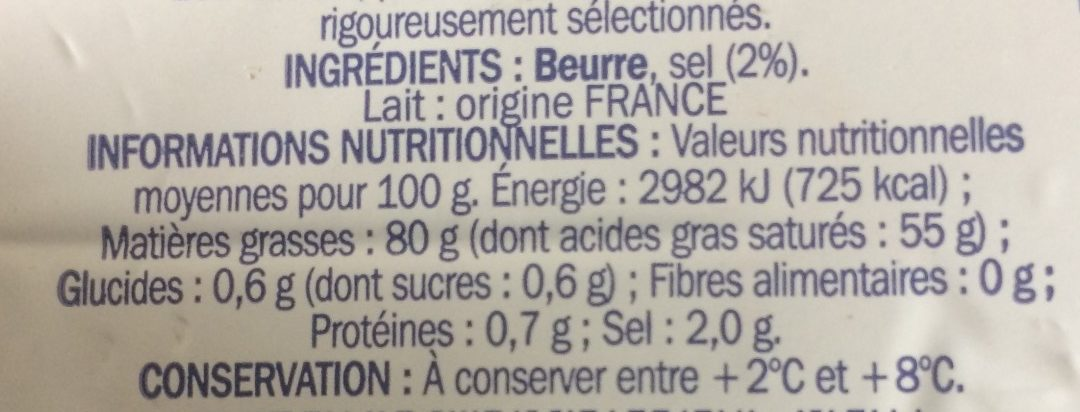 Beurre de Bretagne demi sel - Ingredients - fr