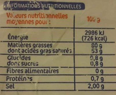 Beurre de Bretagne demi sel - Nutrition facts - fr
